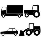 Camión, tractor, coche y cargador Fotografía de archivo