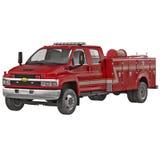 Camión viejo del cuerpo de bomberos de Chevrolet en el ejemplo blanco 3D ilustración del vector