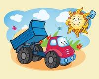 Camión volquete y el sol que trabaja junto Foto de archivo libre de regalías