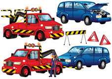 Camión y coche de la avería Ilustración del Vector