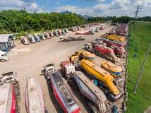 Camión y transporte en mina de carbón Fotos de archivo libres de regalías