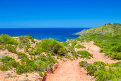 Cami de Cavalls path at Menorca, Spain. Cami de Cavalls path in sunny day at Menorca, Spain royalty free stock image