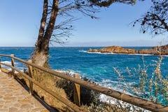 Cami de Ronda, прибрежный путь вдоль Косты Brava Стоковое Изображение RF