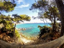 Cami de Ronda - Costa Brava, Spain sea shore. Blue water stock photo