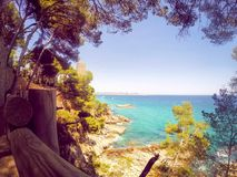Cami de Ronda - Costa Brava, Spanien-Seeufer lizenzfreie stockbilder