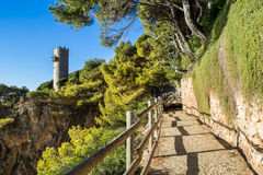 Cami de ronda. Pathway of Cami de Ronda, Costa Brava stock photography