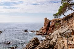 Cami de Ronda tourist track in Lloret de Mar. Costa Brava, Spain stock photography