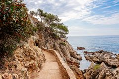 Cami de Ronda tourist track in Lloret de Mar. Costa Brava, Spain royalty free stock photos