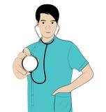 Camice del blu di medico dell'uomo Fotografie Stock Libere da Diritti