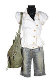 Camicetta, shorts e sacchetto fotografie stock libere da diritti