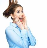Camicia blu bella giovane di grido della donna di affari vestita Immagini Stock
