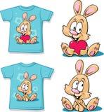 Camicia blu con il coniglietto sveglio - vettore Fotografie Stock Libere da Diritti