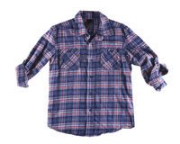Camicia blu e rossa isolata Immagini Stock
