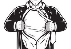 Camicia comica di apertura dell'eroe Fotografia Stock