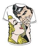 Camicia con l'illustrazione delle coppie Fotografie Stock Libere da Diritti