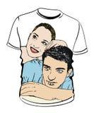 Camicia con le illustrazioni delle coppie Fotografia Stock Libera da Diritti