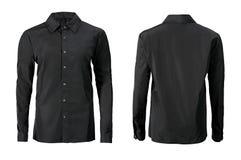 Camicia convenzionale di colore nero con del bottone il collare giù isolato sul whi fotografie stock