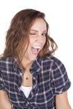 Camicia dell'azzurro di strizzatina d'occhio della donna Fotografia Stock
