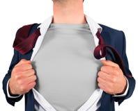 Camicia di apertura dell'uomo d'affari nello stile del supereroe Fotografia Stock Libera da Diritti