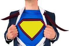 Camicia di apertura dell'uomo d'affari nello stile del supereroe Immagine Stock Libera da Diritti
