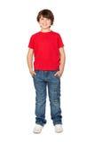 Camicia di colore rosso del briciolo del bambino fotografia stock libera da diritti