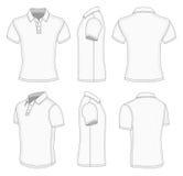 Camicia di polo bianca della manica degli uomini breve. illustrazione di stock