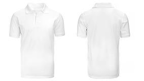 Camicia di polo bianca, vestiti Immagini Stock