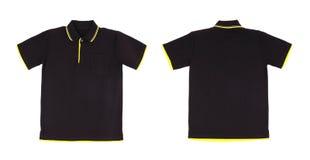 Camicia di polo in bianco messa (parte anteriore, parte posteriore) Fotografia Stock