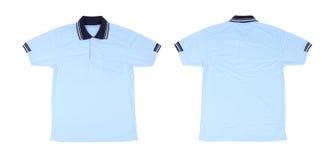Camicia di polo in bianco messa (parte anteriore, parte posteriore) Fotografia Stock Libera da Diritti
