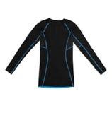 Camicia di sport lunga nera della manica con le cuciture del blu isolate su bianco Immagini Stock Libere da Diritti