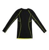 Camicia di sport lunga nera della manica con le cuciture di giallo isolate sul whi Fotografia Stock Libera da Diritti