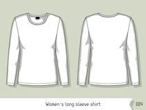 Camicia lunga della manica delle donne Modello per progettazione, facilmente editabile dagli strati illustrazione di stock