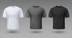 Camicia maschio realistica Modello nero e grigio bianco della maglietta 3D, modello in bianco, abbigliamento unisex pulito di spo royalty illustrazione gratis