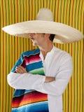 Camicia messicana del ritratto del sombrero dell'uomo dei baffi Immagini Stock