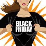 Camicia strappante della donna di Black Friday aperta Immagine Stock Libera da Diritti