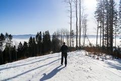 Caminando al hombre en el bosque cubierto en nieve durante invierno eslovaquia fotografía de archivo libre de regalías