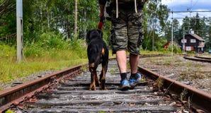 Caminando el ferrocarril Fotografía de archivo libre de regalías