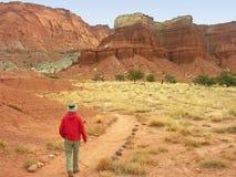 Caminando en parque nacional del filón del capitolio, Utah fotografía de archivo libre de regalías