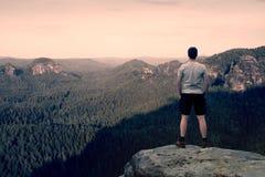 Caminante adulto en camisa gris y pantalones oscuros Hombre alto en el pico del acantilado de la piedra arenisca que mira abajo a Imagen de archivo