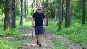 Caminante con los bastones en el bosque 2 metrajes
