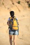 Caminante de la mujer en el desierto Imagen de archivo libre de regalías