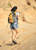Caminante de la mujer en el desierto Fotografía de archivo libre de regalías