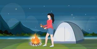 Caminante de la mujer que hace a la muchacha del fuego que sostiene la leña para la hoguera que camina al viajero del concepto qu stock de ilustración