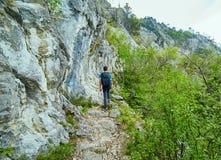 Caminante del adolescente en un rastro de montaña Imagenes de archivo