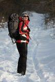 Caminante en bosque Imagen de archivo libre de regalías