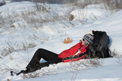 Caminante en la nieve Fotografía de archivo libre de regalías