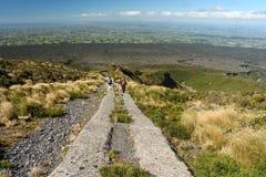 Caminante en la pista de Taranaki del soporte Imágenes de archivo libres de regalías