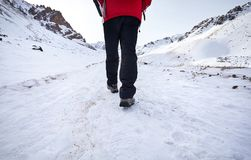 Caminante en montañas nevosas fotos de archivo libres de regalías
