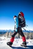 Caminante en montañas del invierno Imagen de archivo libre de regalías