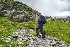 Caminante joven con la mochila en un rastro Imagen de archivo libre de regalías